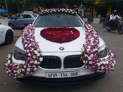 Car decoration arranges for wedding in Bhopal - Utsav Marriage Garden